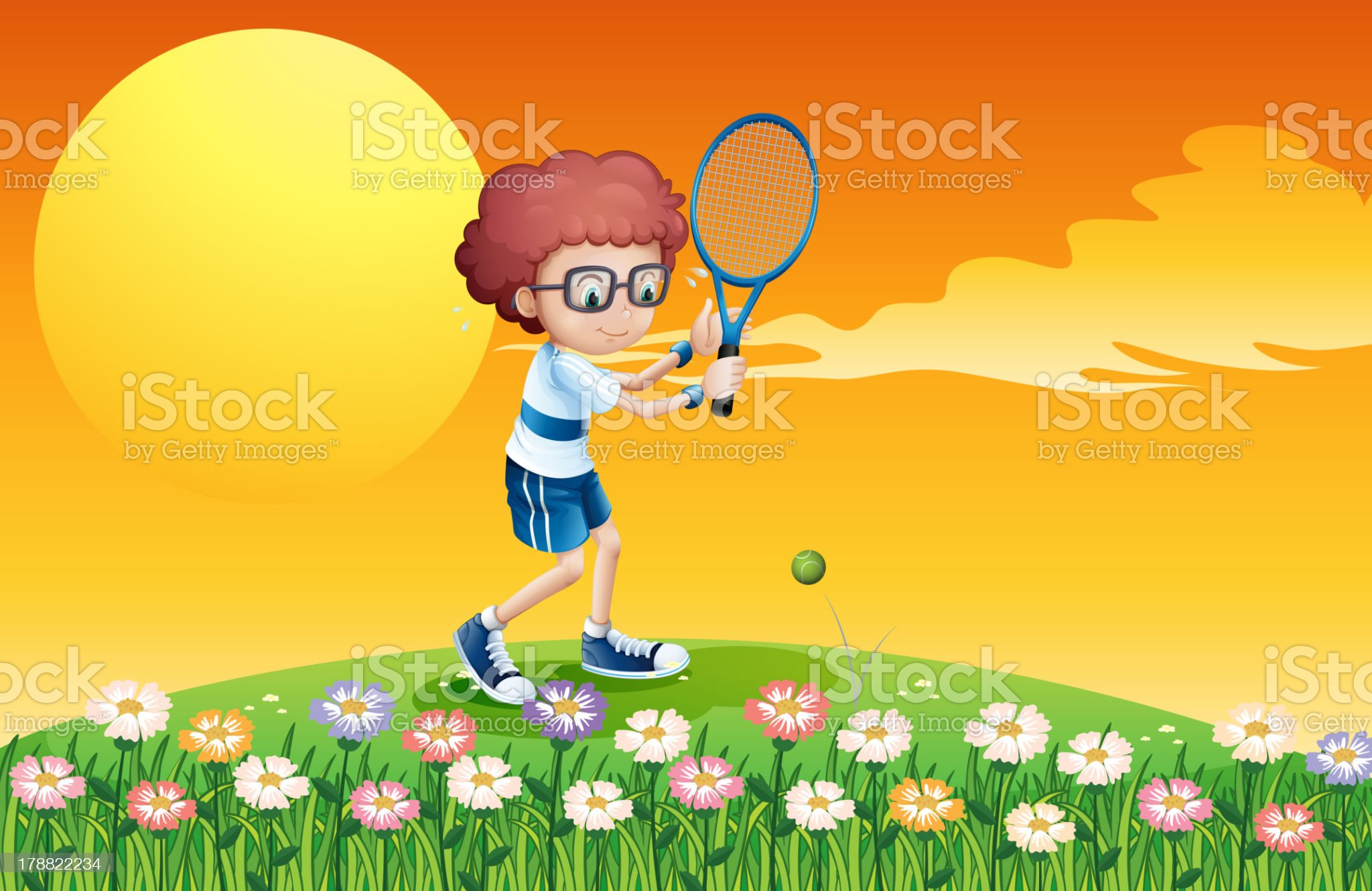 boy playing tennis at the hill royalty-free stock vector art