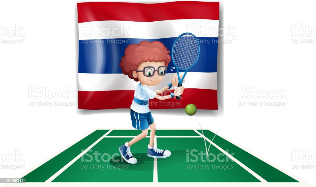 Boy playing tennis in front of the Thailand flag royalty-free stock vector art
