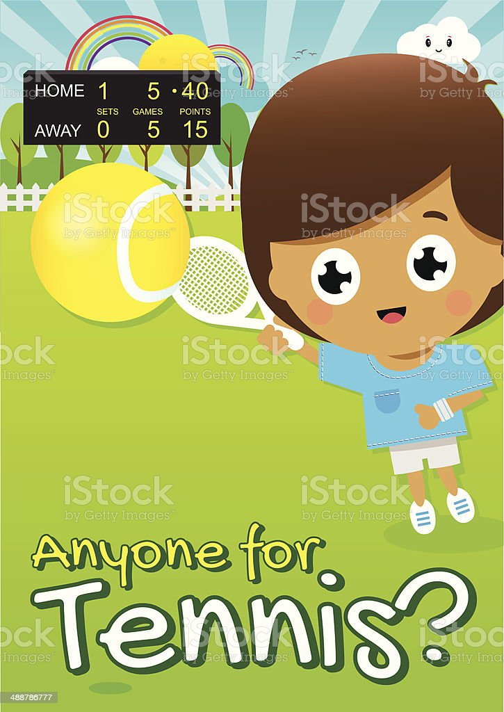 Boy Playing Tennis in Park with Score Board in Distance vector art illustration