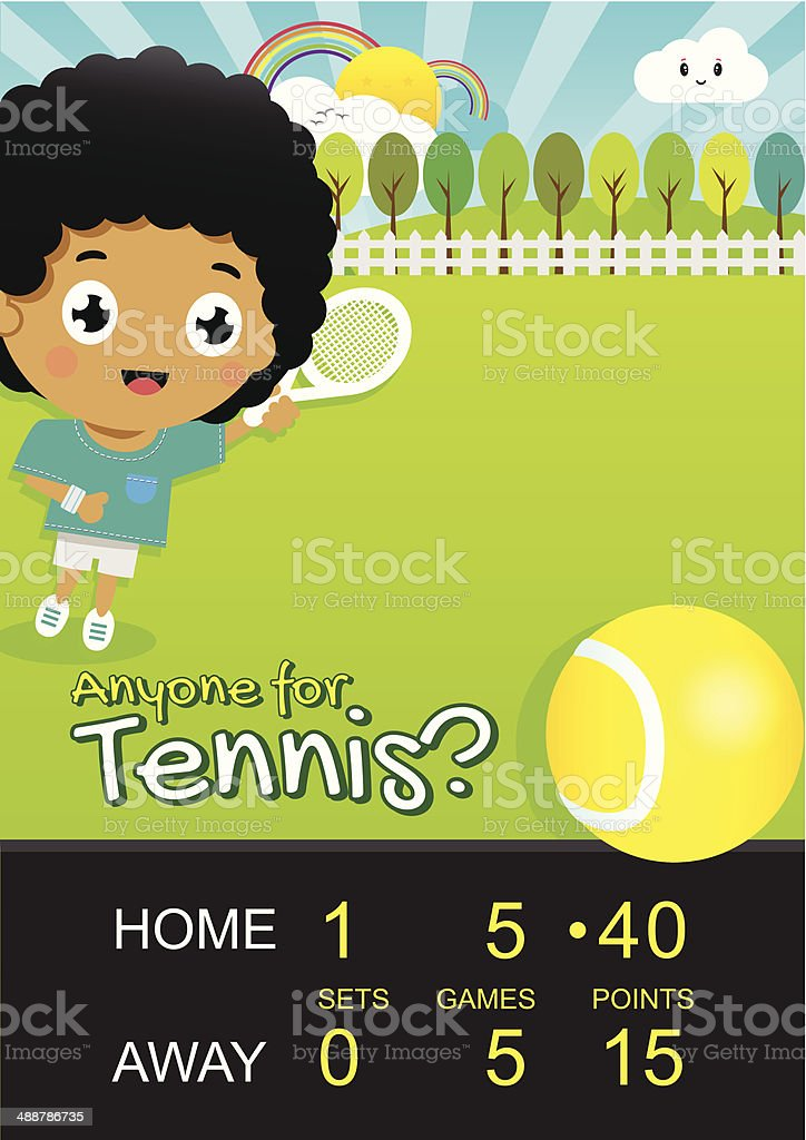 Boy Playing Tennis in Park with Score Board vector art illustration