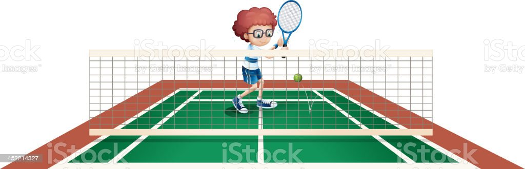 boy playing tennis royalty-free stock vector art