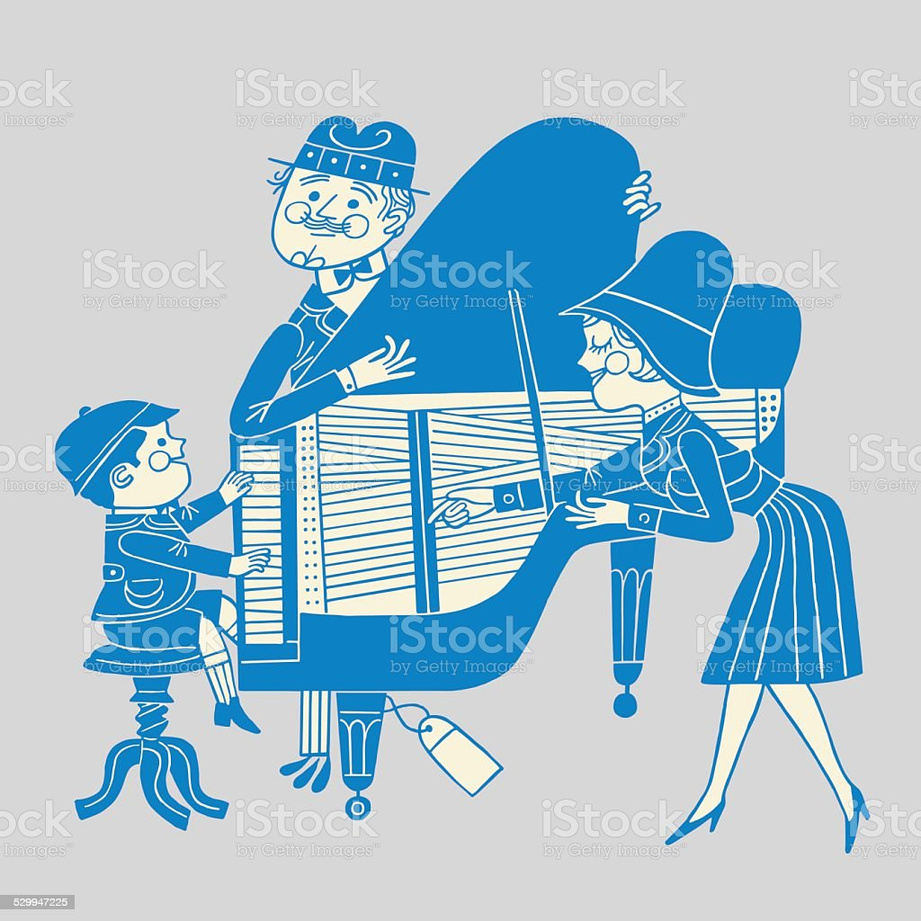 Boy Playing the Piano vector art illustration