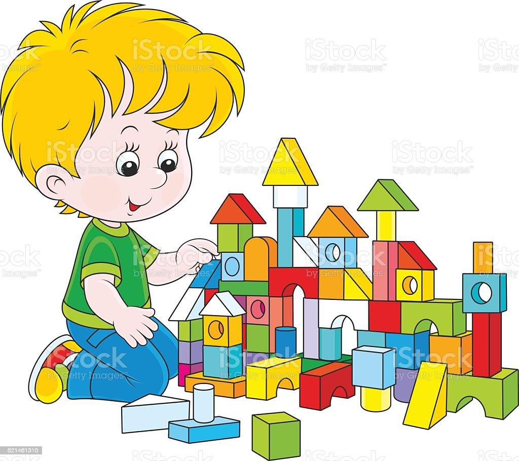 Boy playing with bricks vector art illustration
