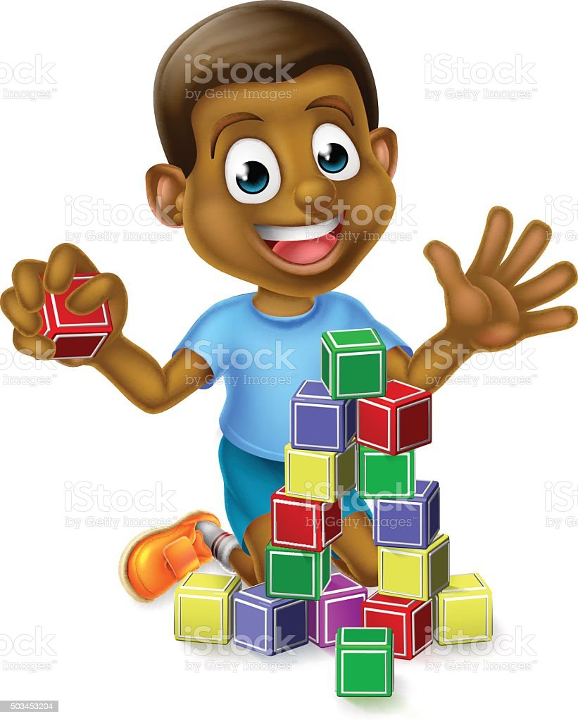 Boy Playing With Building Blocks vector art illustration