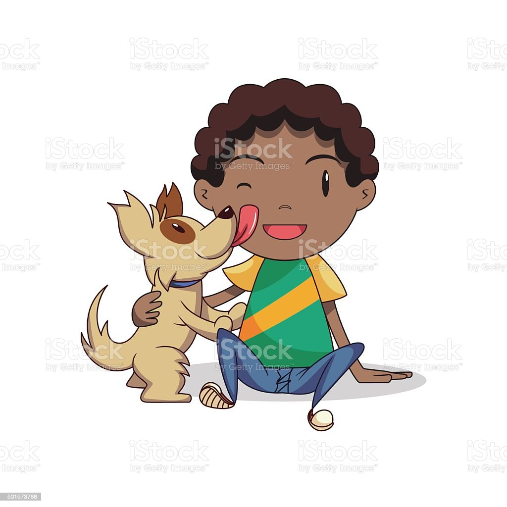 Boy playing with dog vector art illustration