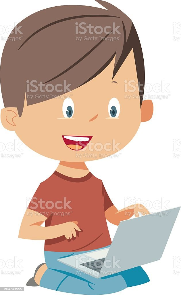 boy playing with laptop computer vector art illustration