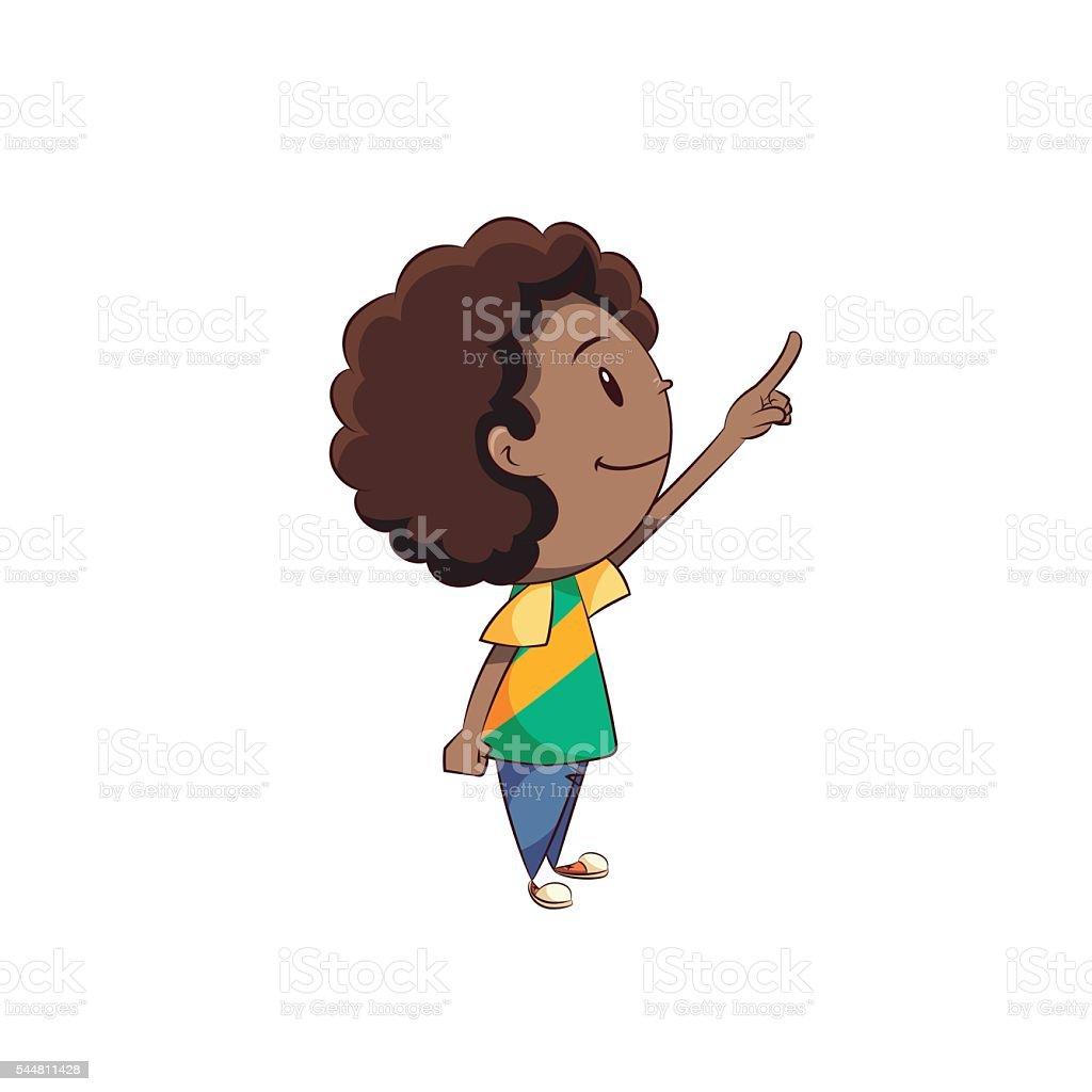 Boy pointing up vector art illustration