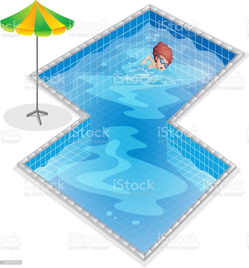 boy practicing at the swimming pool royalty-free stock vector art