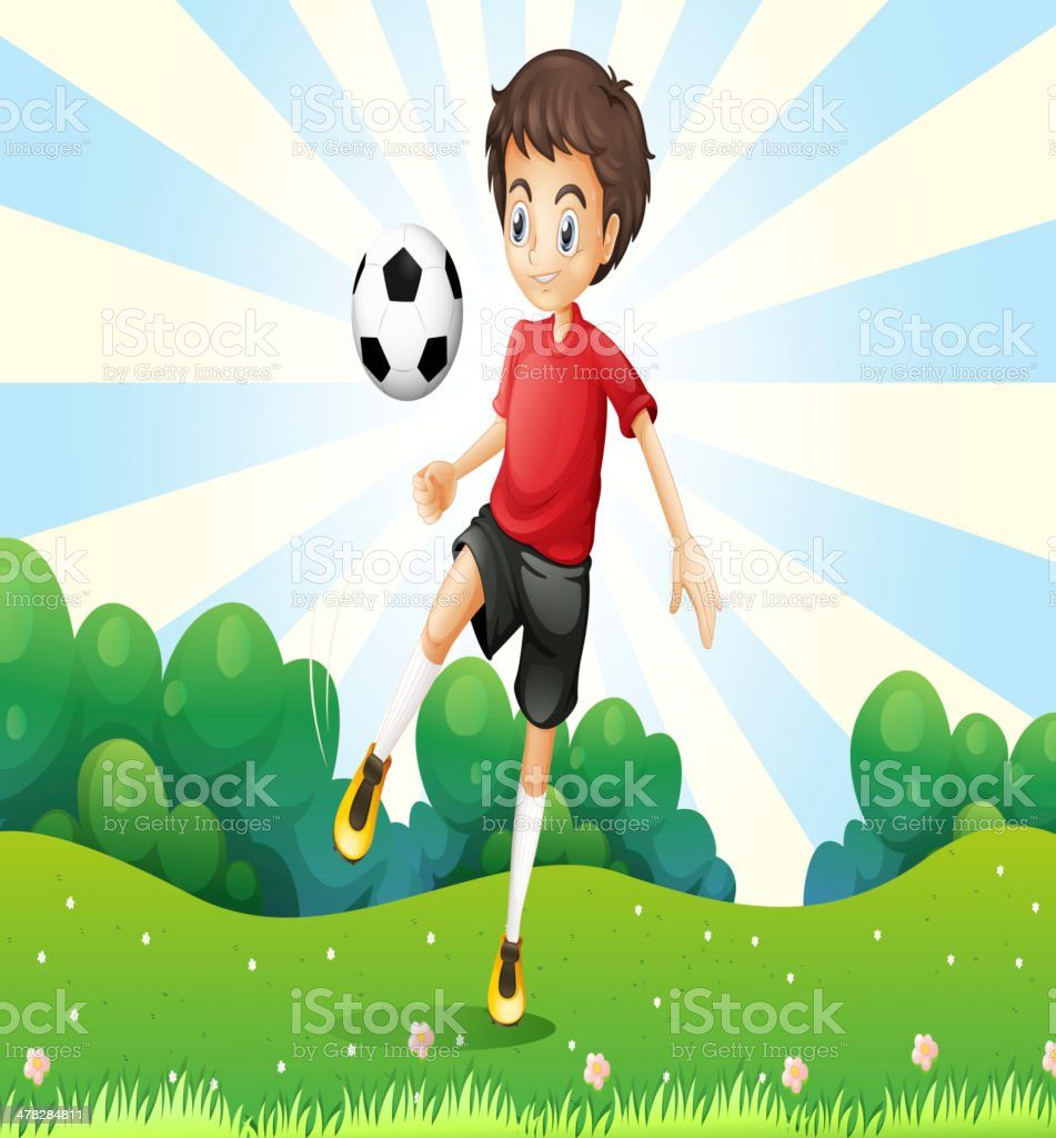 boy practicing soccer at the hilltop royalty-free stock vector art