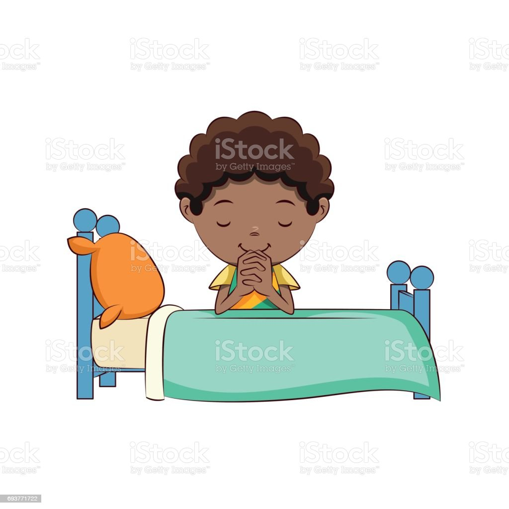 Boy praying bed vector art illustration
