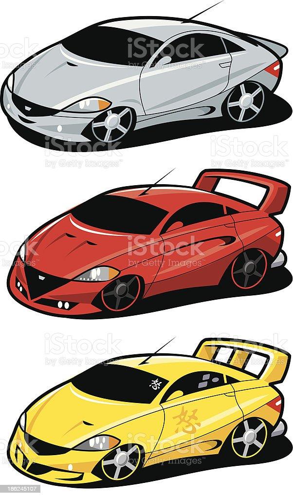 Boy Racer Cars royalty-free stock vector art
