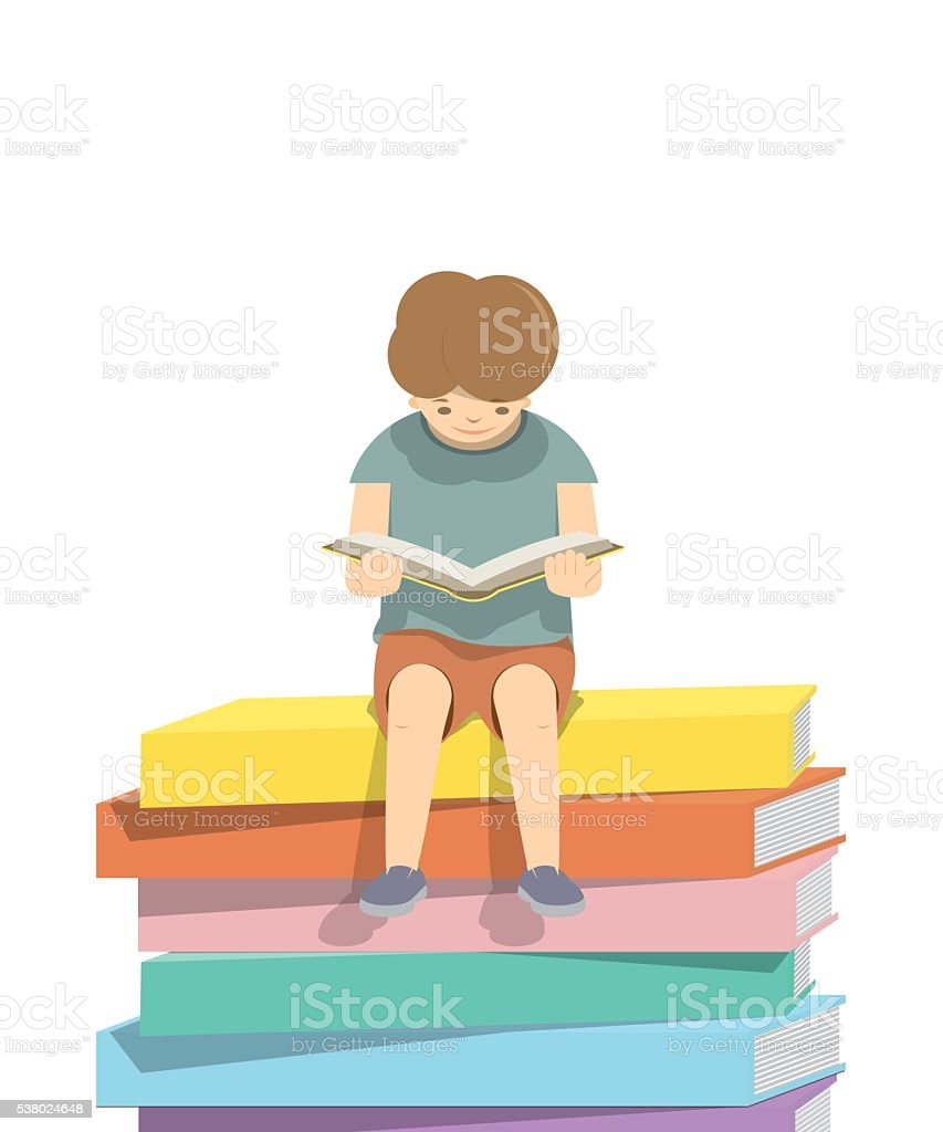 Boy reading a book on pile of books White background. vector art illustration