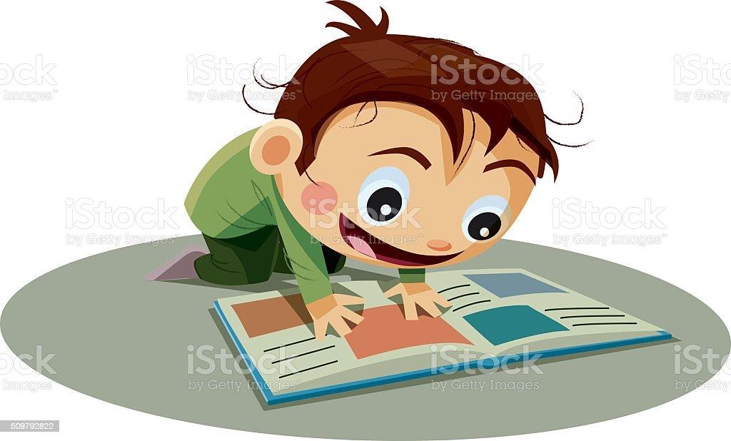 Boy Reading a book vector art illustration