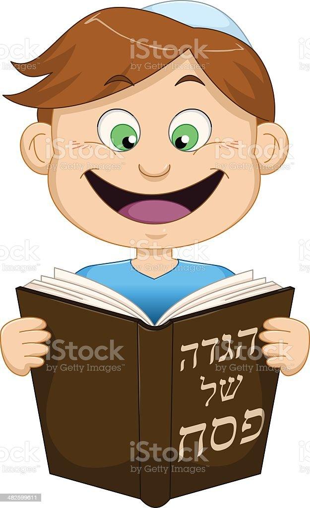 Boy Reading From Haggadah For Passover vector art illustration
