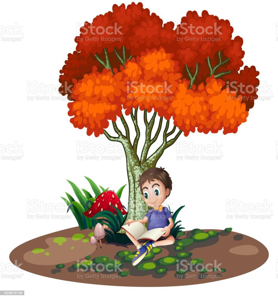 Boy reading under the tree vector art illustration