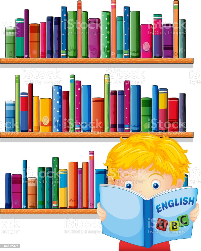 boy reading with a wooden shelves at the back royalty-free stock vector art
