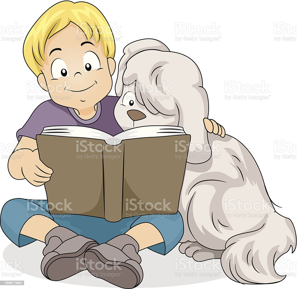 Boy Reading with His Dog royalty-free stock vector art