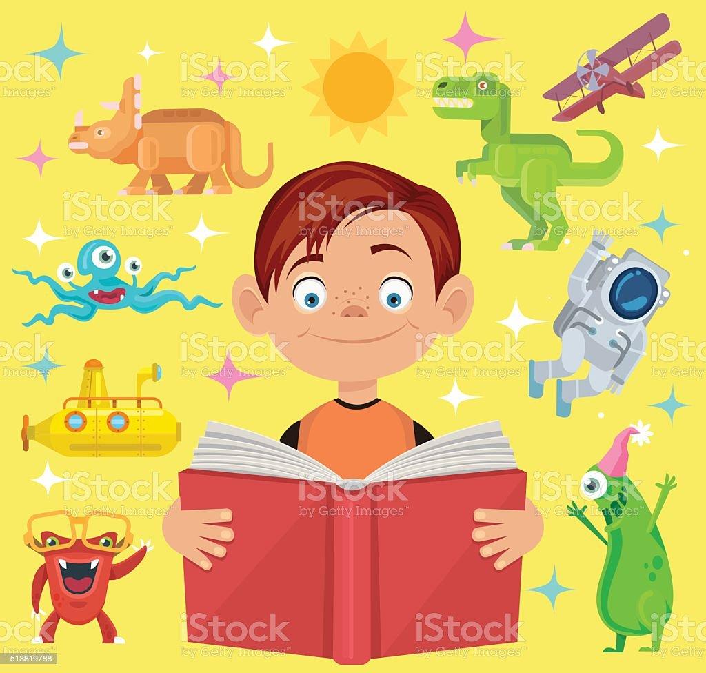 Boy reads fairy tale book. Vector flat cartoon illustration vector art illustration
