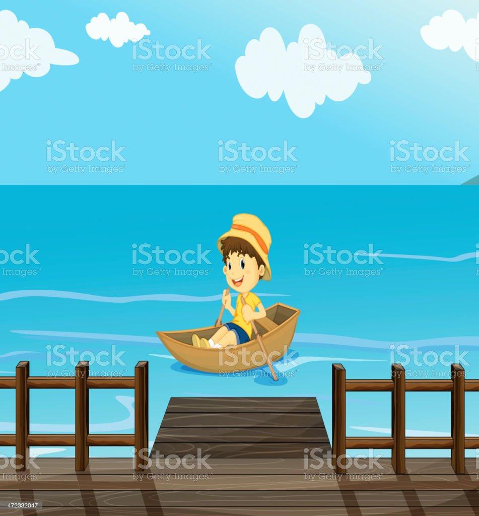 Boy riding a boat royalty-free stock vector art
