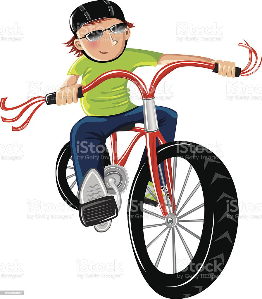 Boy riding a red bike royalty-free stock vector art
