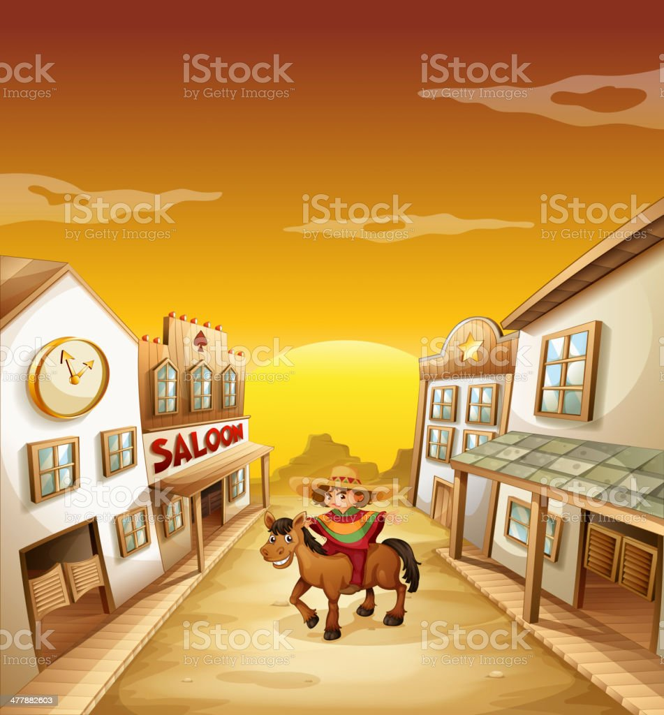 Boy riding in a horse outside the saloon vector art illustration
