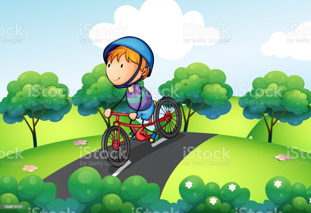 Boy riding in his bike royalty-free stock vector art