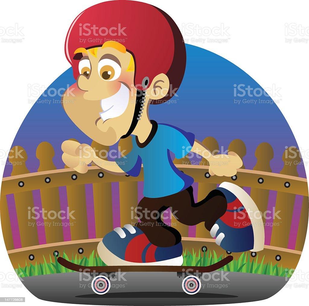 Boy Riding Skateboard vector art illustration
