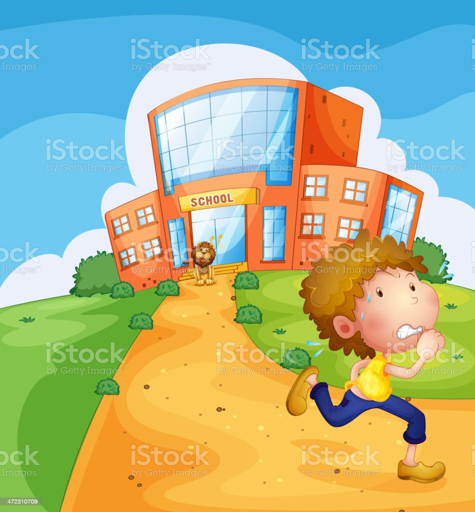 Boy running and a lion near the school royalty-free stock vector art