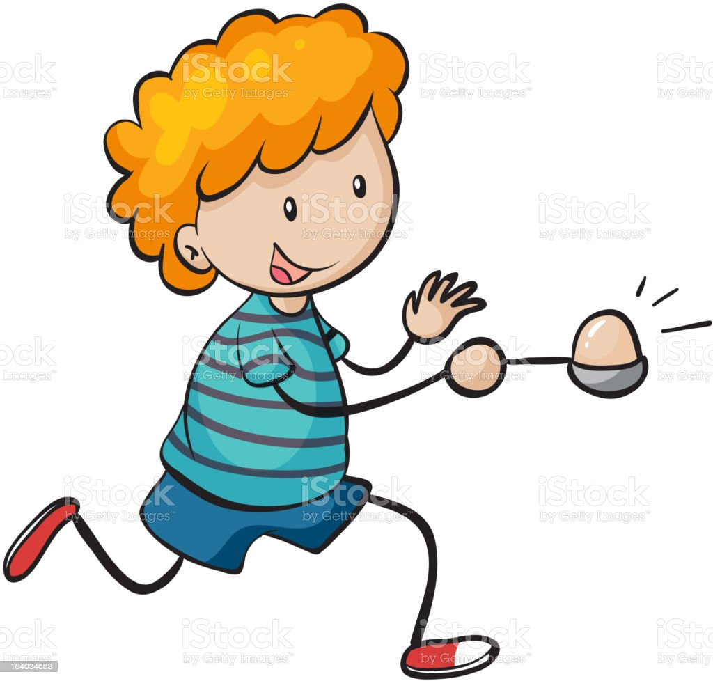 boy running in egg and spoon race royalty-free stock vector art