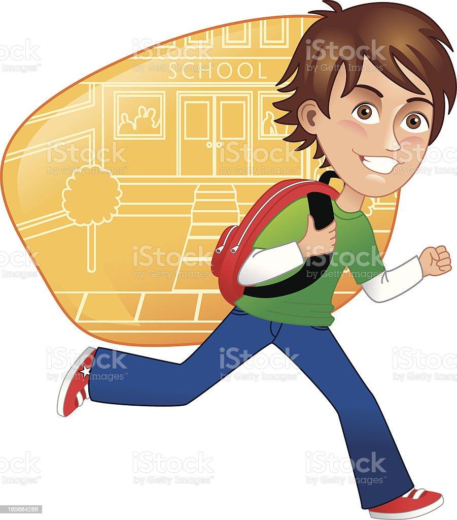 Boy running to class royalty-free stock vector art