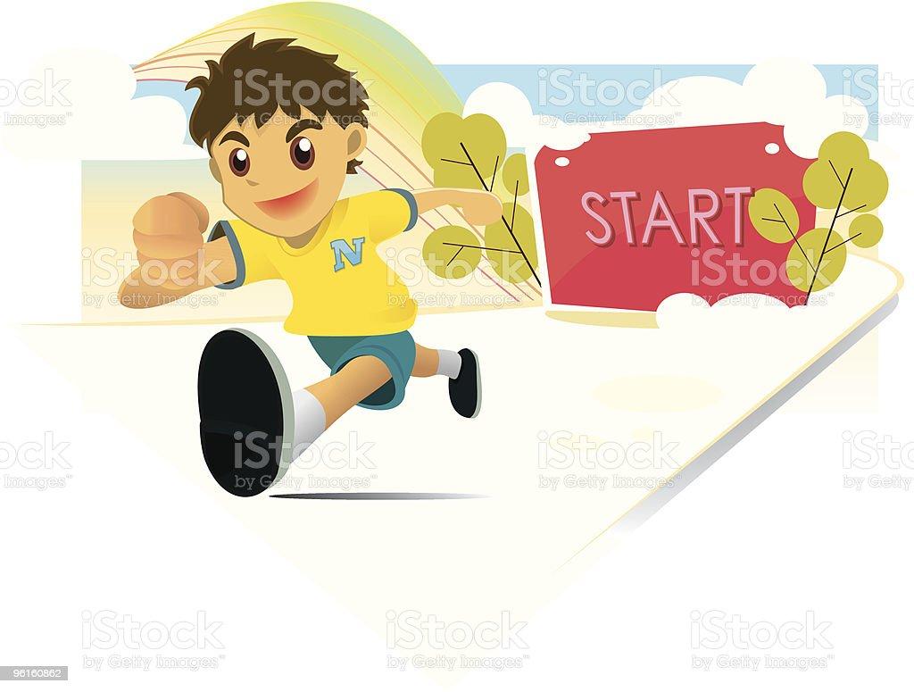 Boy Running vector art illustration