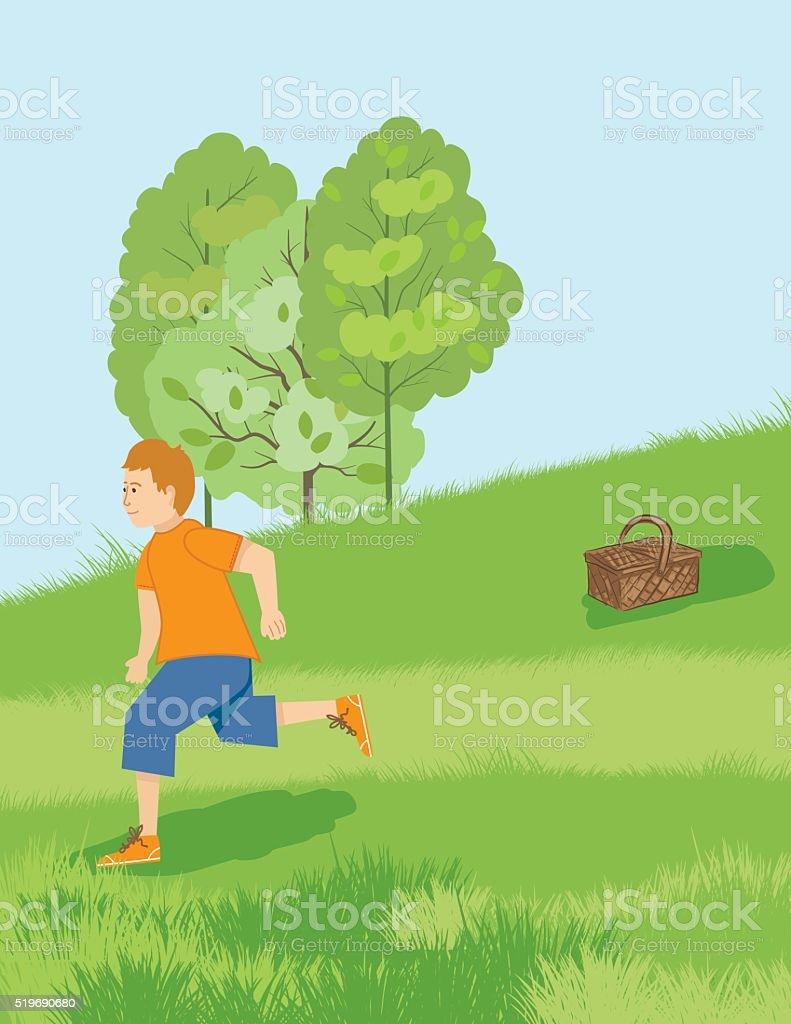 Boy Runs down A Hill vector art illustration