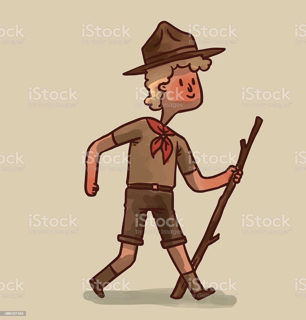 Boy Scout, blonde hair vector art illustration