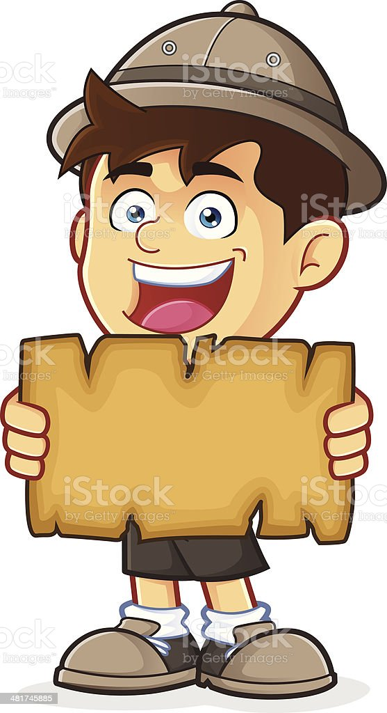 Boy Scout or Explorer Boy Holding a Blank Map vector art illustration