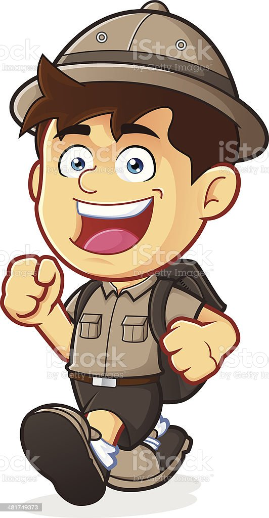 Boy Scout or Explorer Boy Walking vector art illustration