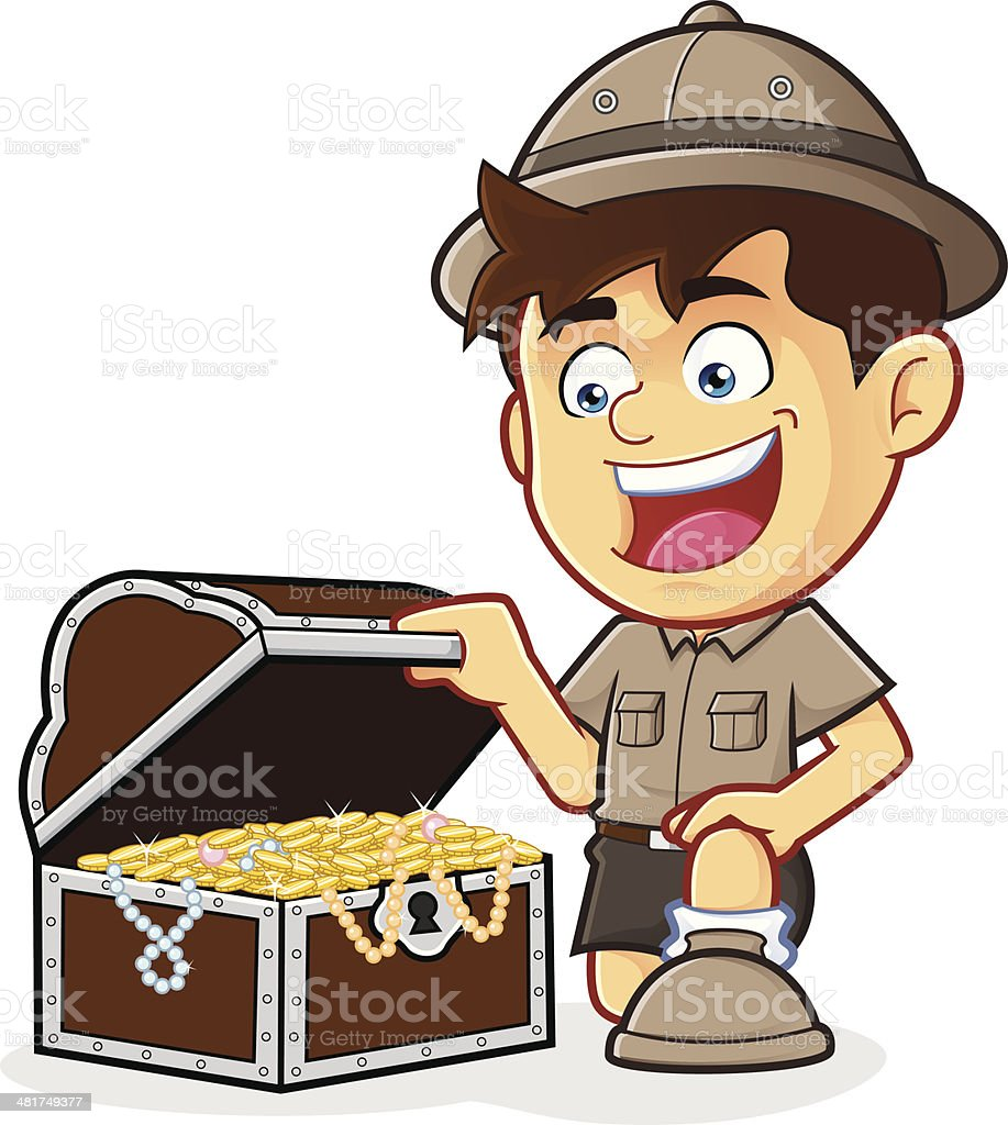 Boy Scout or Explorer Boy with a Treasure Chest vector art illustration