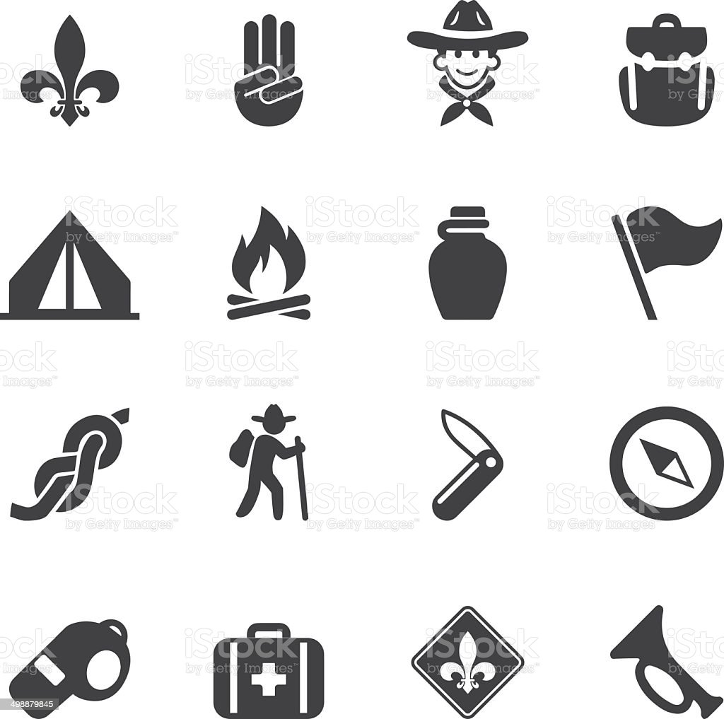 Boy Scout Silhouette icons| EPS10 vector art illustration