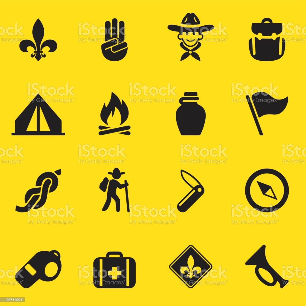 Boy Scout Yellow Silhouette icons| EPS10 vector art illustration