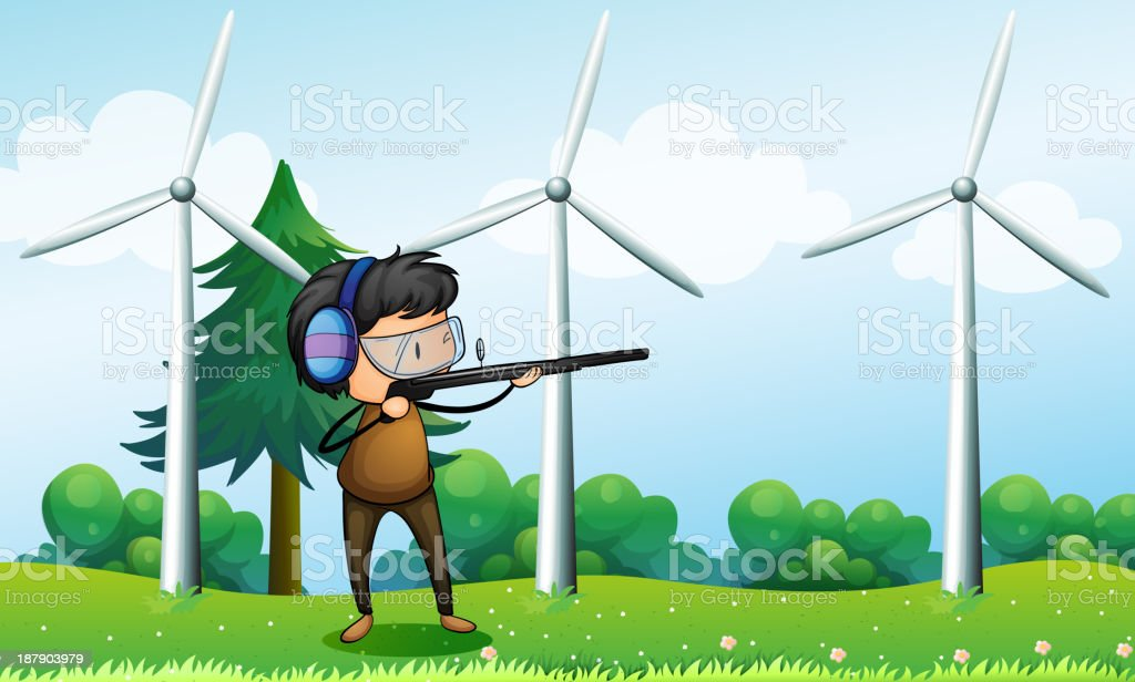 boy shooting in front of the windmills royalty-free stock vector art