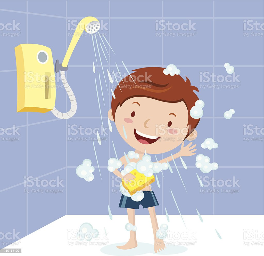 Boy shower vector art illustration