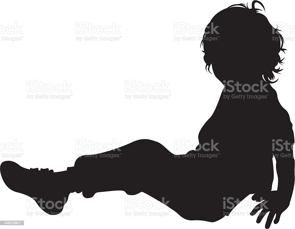 Boy Sitting in Silhouette vector art illustration