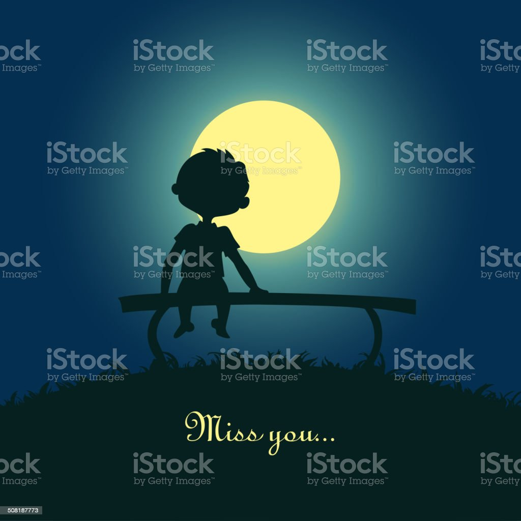 Boy sitting lonely in the moonlight vector art illustration