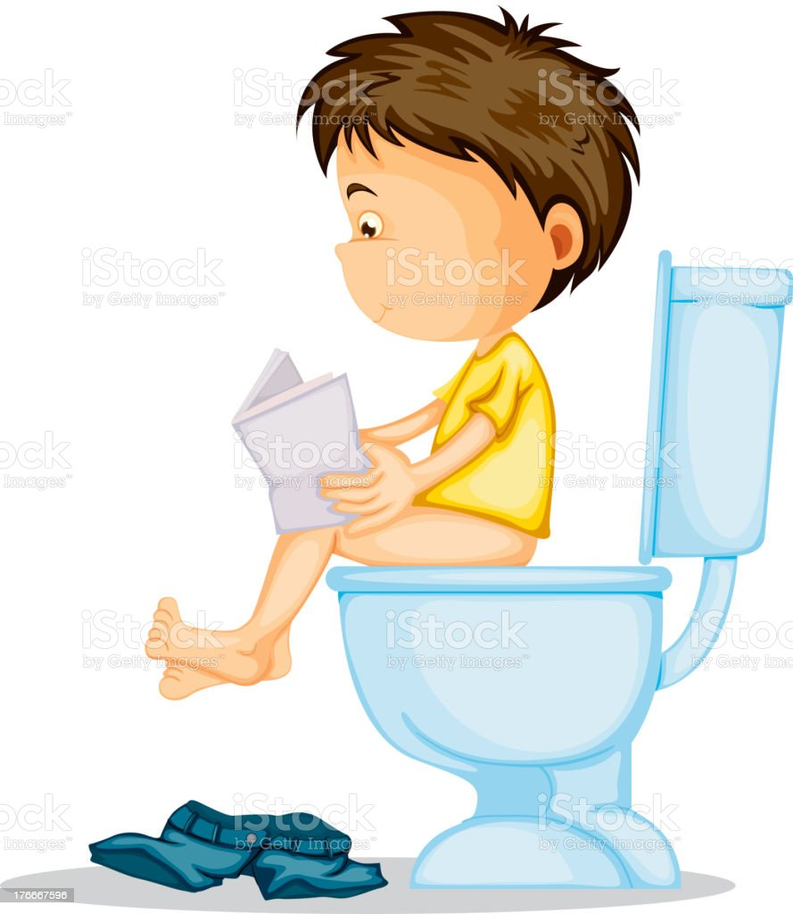 boy sitting on commode royalty-free stock vector art