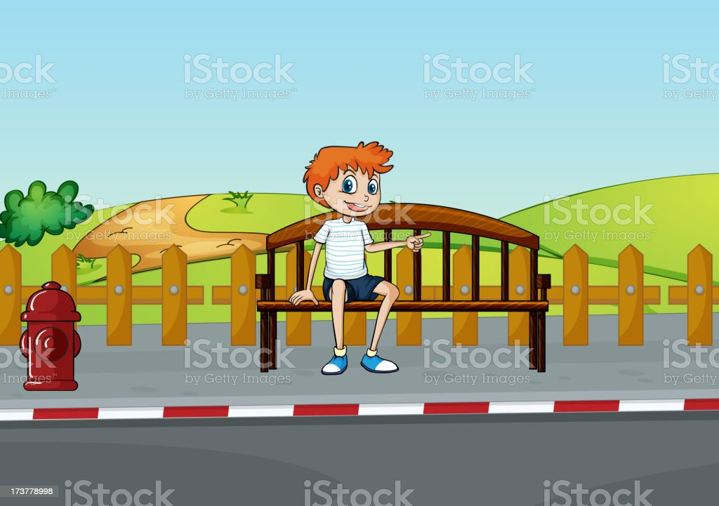 boy sitting on the bench royalty-free stock vector art