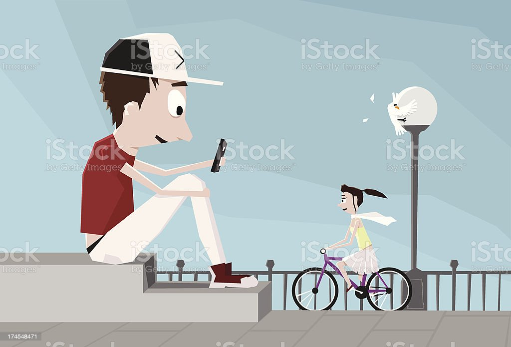 Boy sitting on the square holding smartphone. royalty-free stock vector art