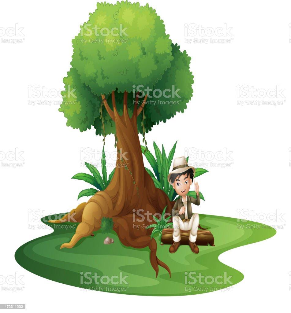Boy sitting under the big tree royalty-free stock vector art