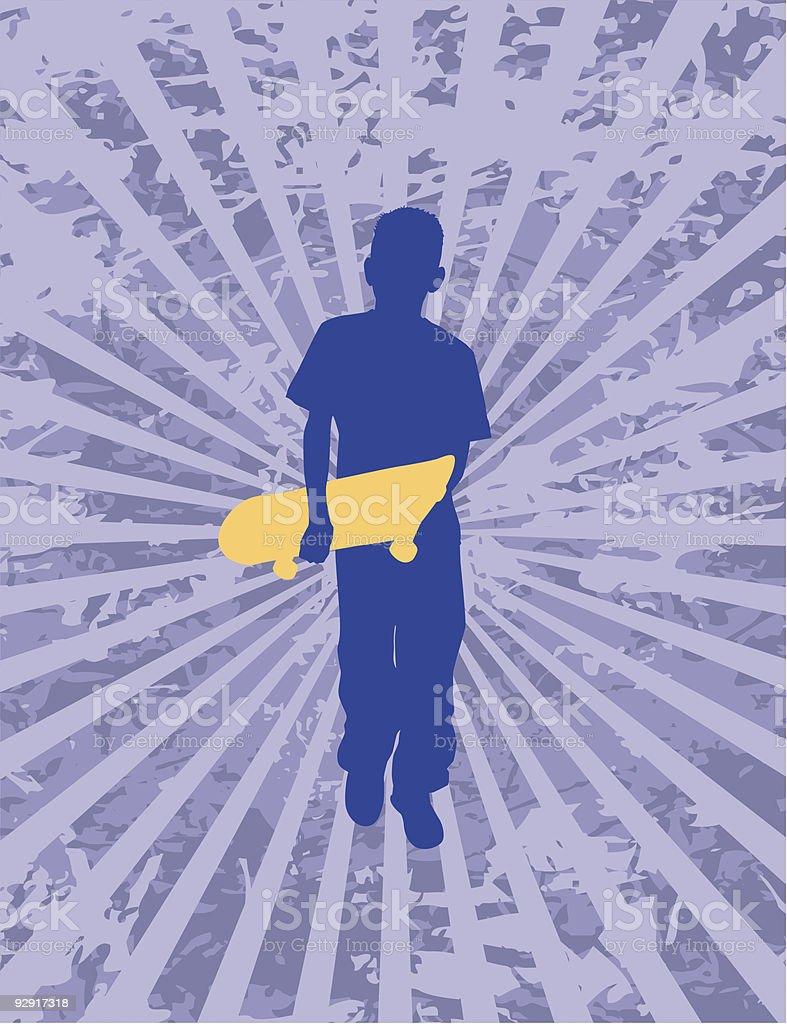 Boy & skateboard silhouette (vector & jpeg) vector art illustration