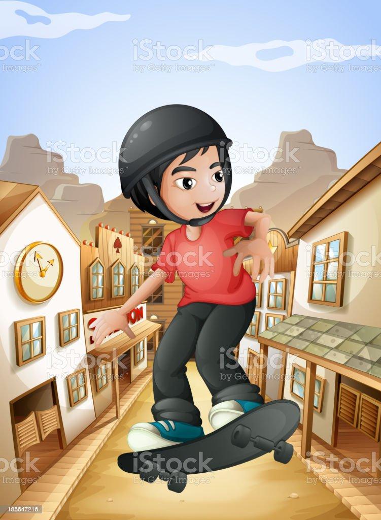 boy skateboarding near the saloon bars vector art illustration