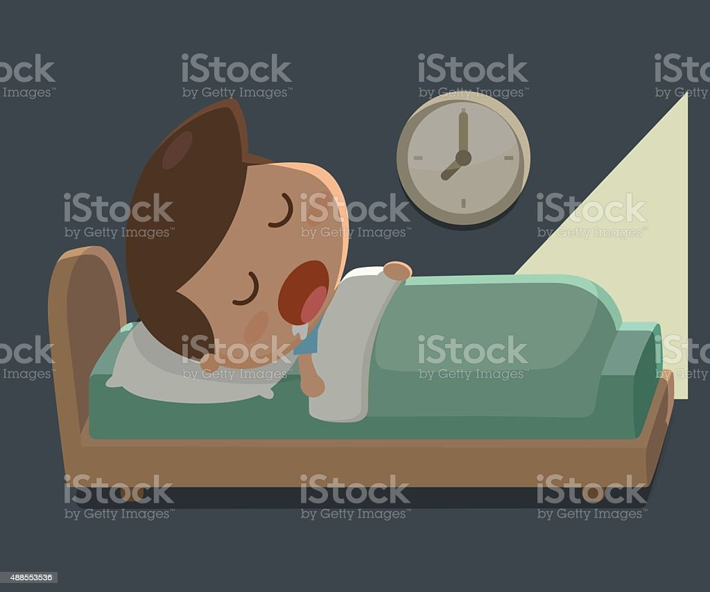Boy sleep in the bed vector art illustration