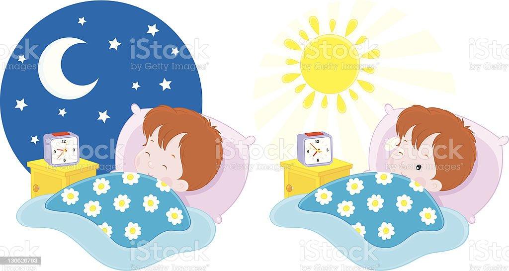 Boy sleeping and waking up royalty-free stock vector art